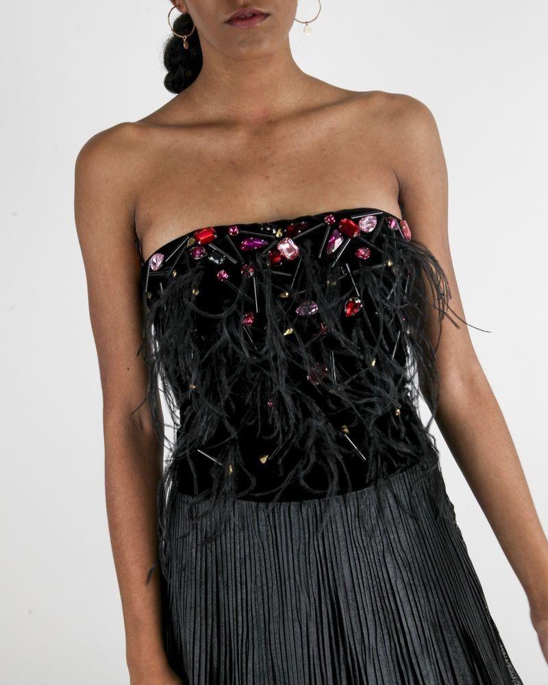 Robe bustier en velours noir à jupe plissée Maria Grazia Severi