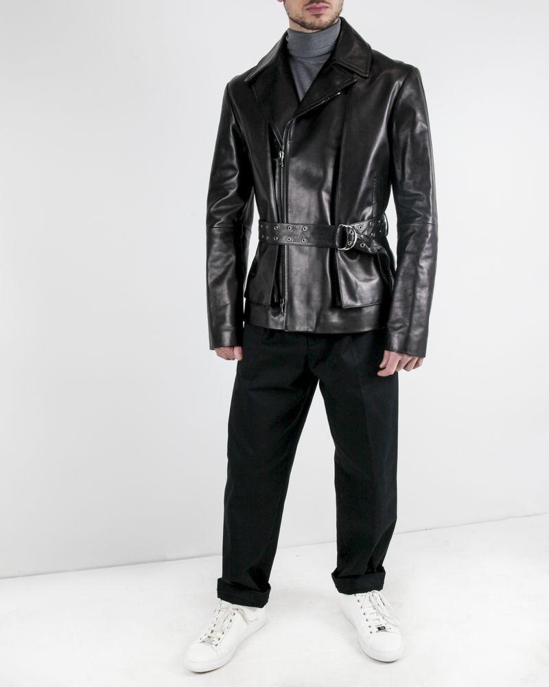 Perfecto en cuir à ceinture cloutée John Galliano