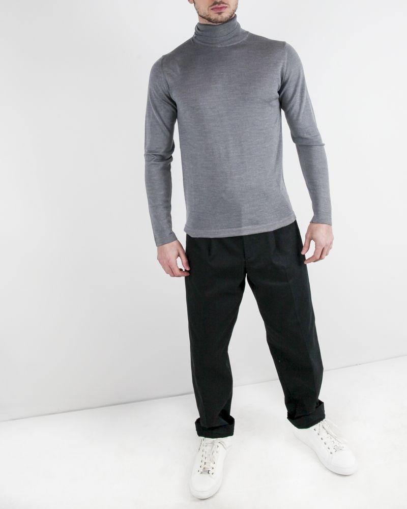 Pull à col roulé en laine et soie gris Daniele Fiesoli