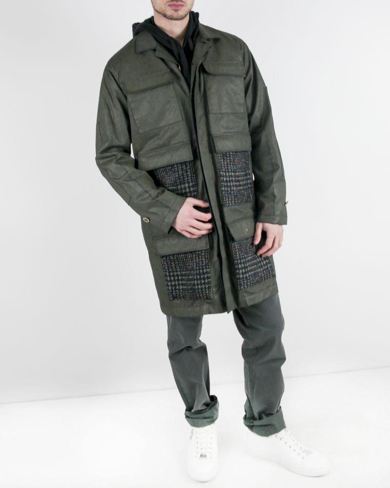 Blouson Kaki à poches fantaisies en laine Luca Roda