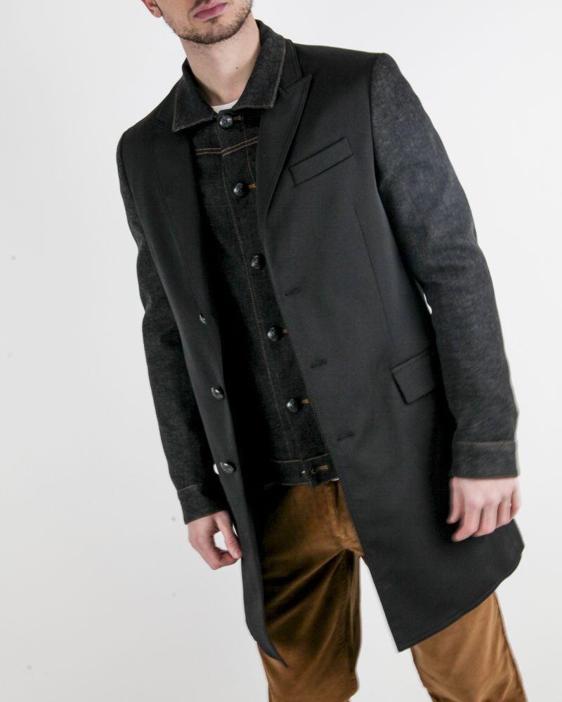 Manteau fantaisie noir à veste en jean Luca Roda