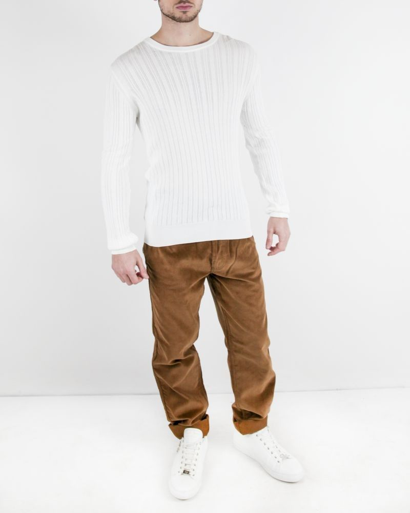 Pantalon regular en velours côtelé camel Edition M.R