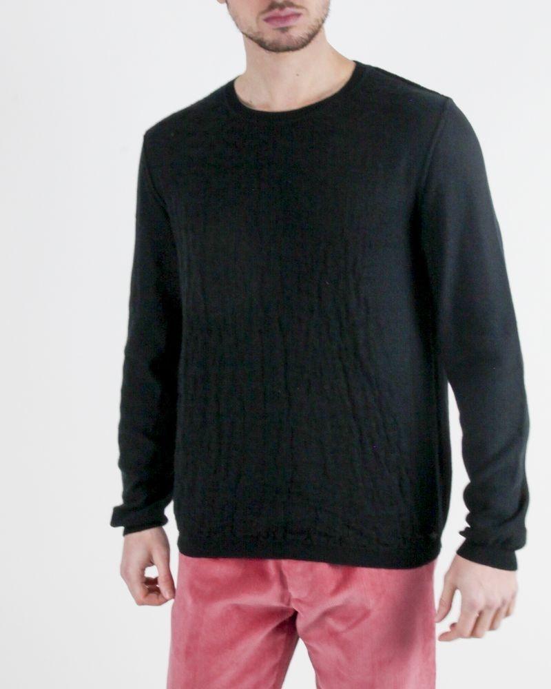 Pull en coton noir à motifs animaux Roberto Cavalli