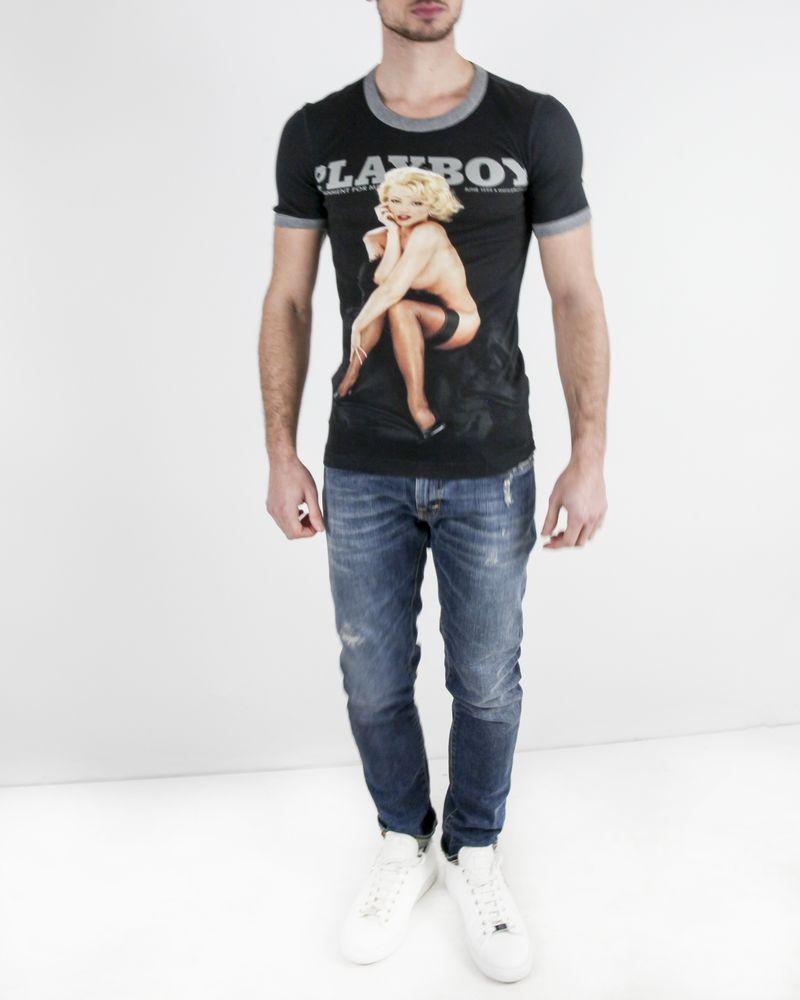 T-Shirt en coton noir à flocage retro Dolce & Gabbana