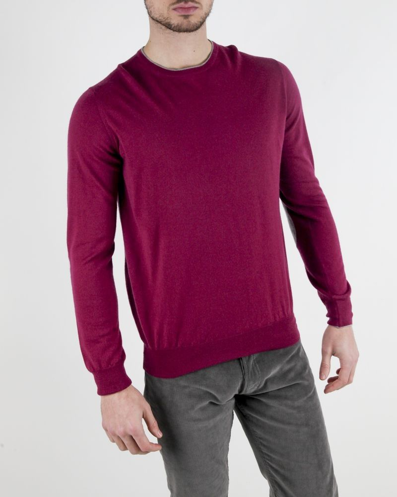 Pull rose fushia col rond Panicale Cashmere