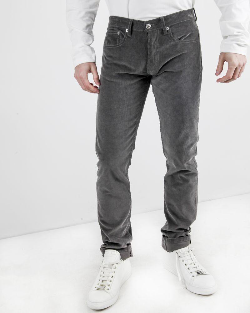 Pantalon slim en velours côtelé gris Edition M.R