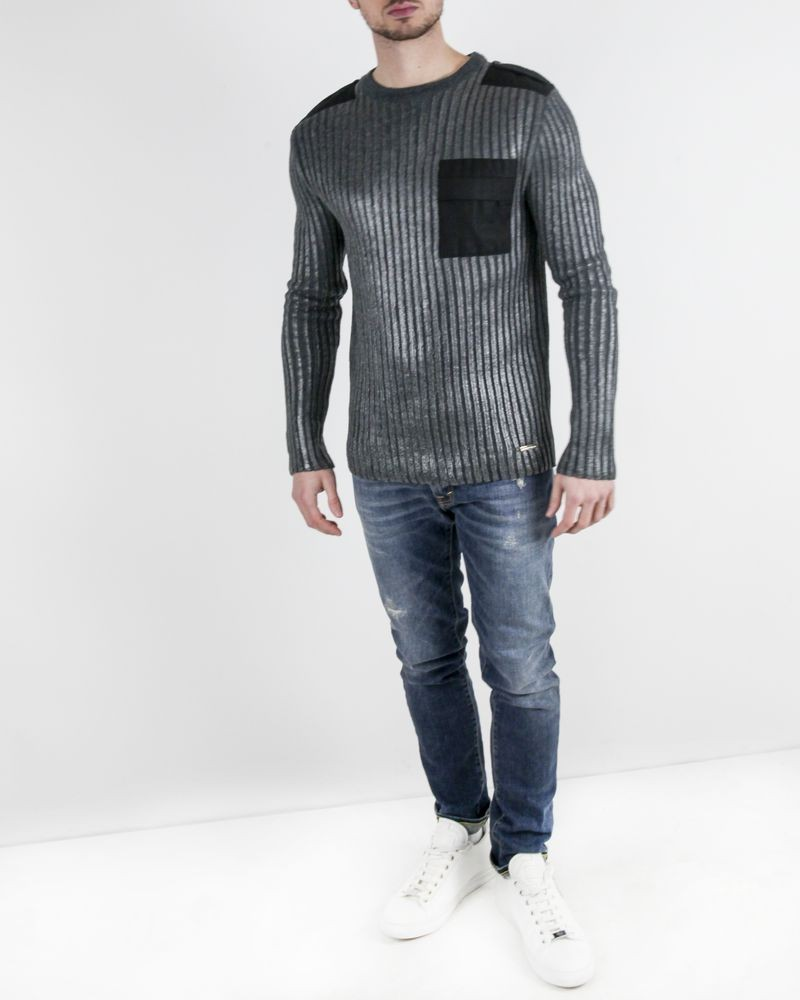 Pull en laine gris à rayures métallisées John Galliano