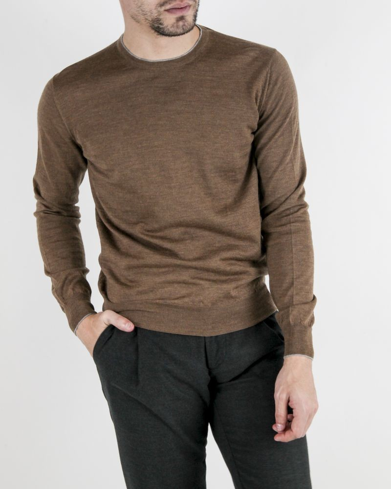 Pull marron col rond Panicale Cashmere