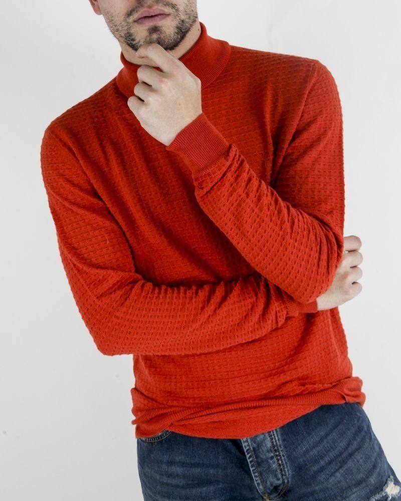 Pull à col roulé en laine orange Obvious