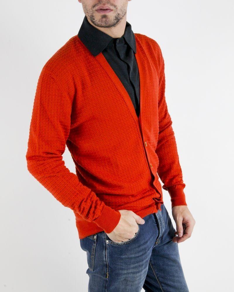 Cardigan en laine orange à motif texturé Obvious