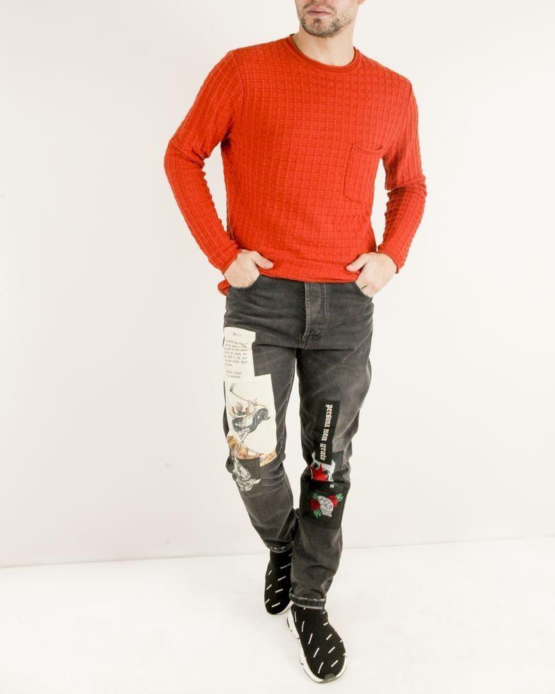 Pull à col rond texturé en laine orange Obvious
