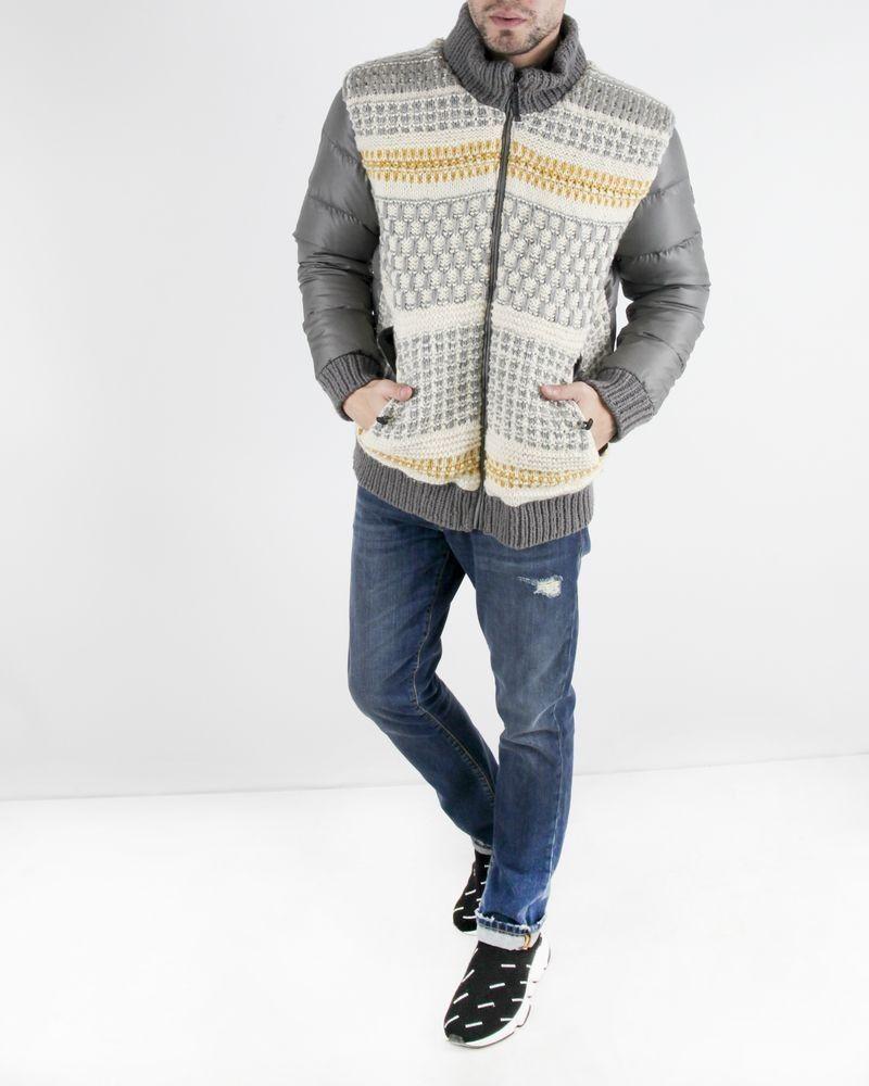 Doudoune gris à tricots fantaisies Roberto Cavalli