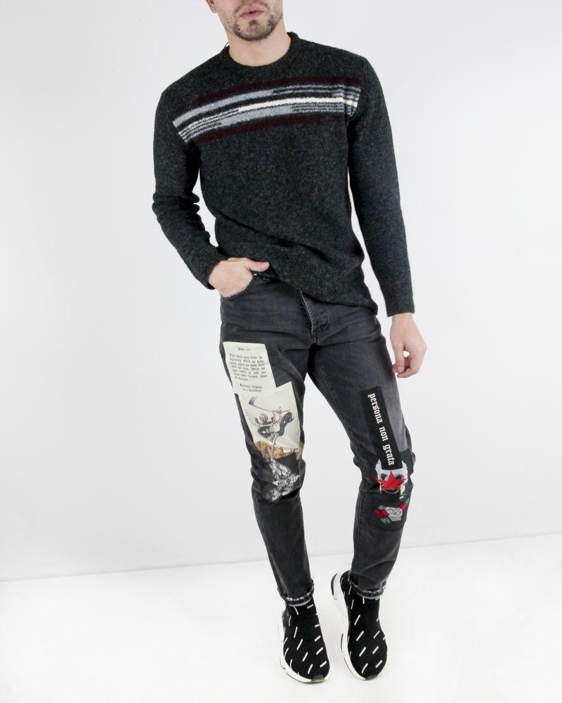 Pull en laine gris à motifs rayés Hosio