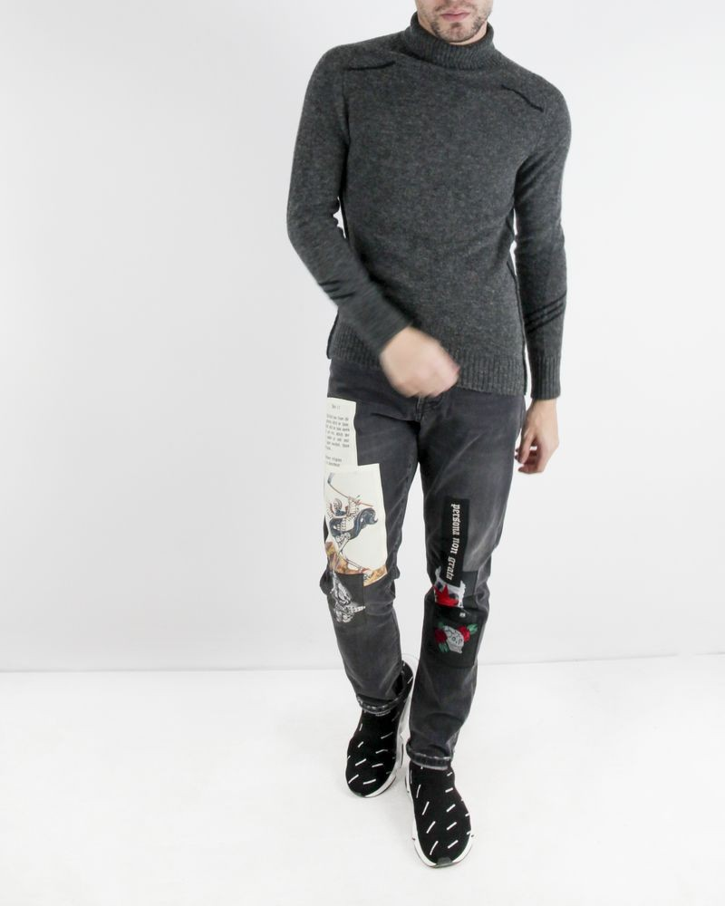 Jean skinny gris à patchs fantaisies John Richmond