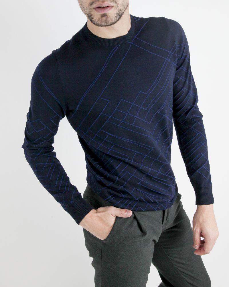 Pull en laine bleu à motifs graphiques Manostorti
