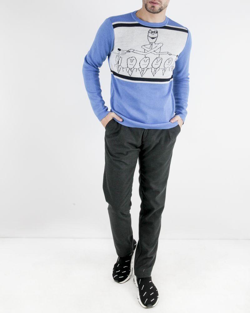 Pull en laine bleu à motifs fantaisies Obvious