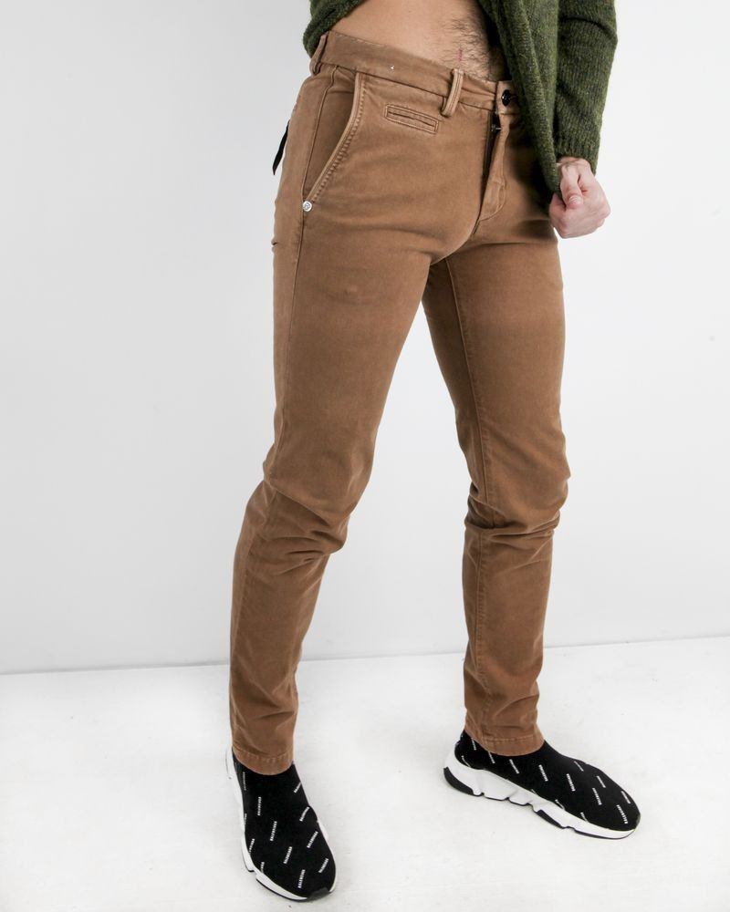 Pantalon slim en coton camel touché nubuck Re-Hash