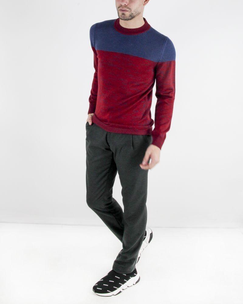 Pull en laine bordeaux et bleu Obvious