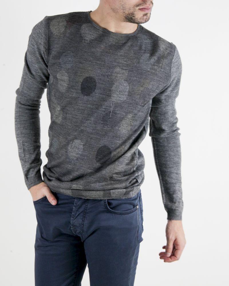 Pull en laine gris à motif géométrique Obvious