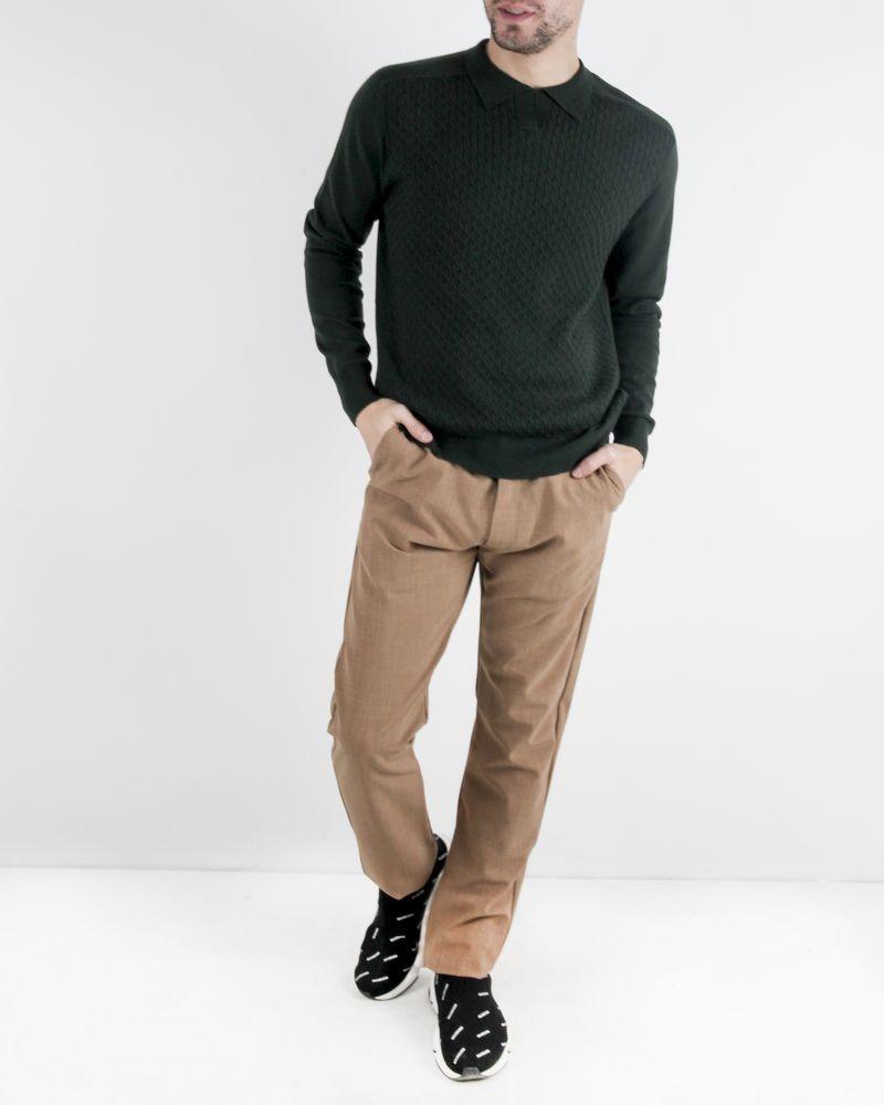 Polo en laine vert à motifs tressés Hosio