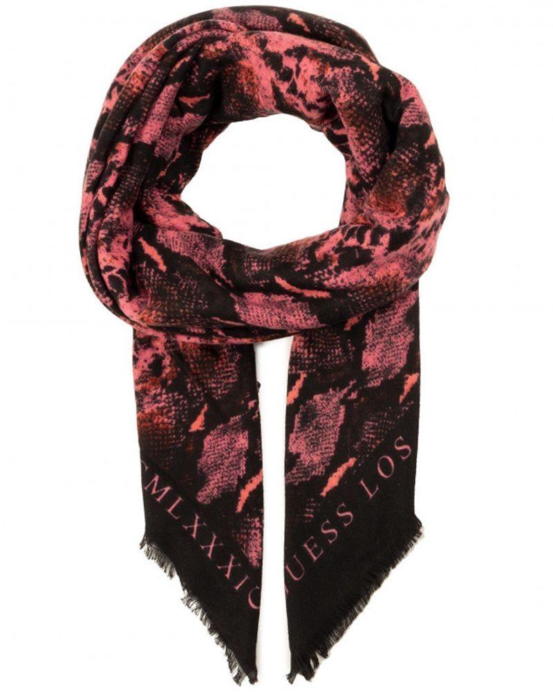 Echarpe noire à motif rose Guess