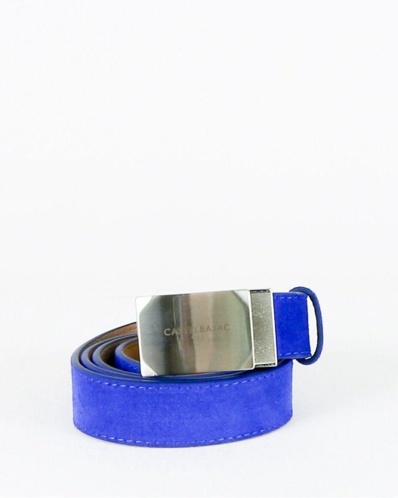 Ceinture en daim bleue à galon bicolore JC De Castelbajac