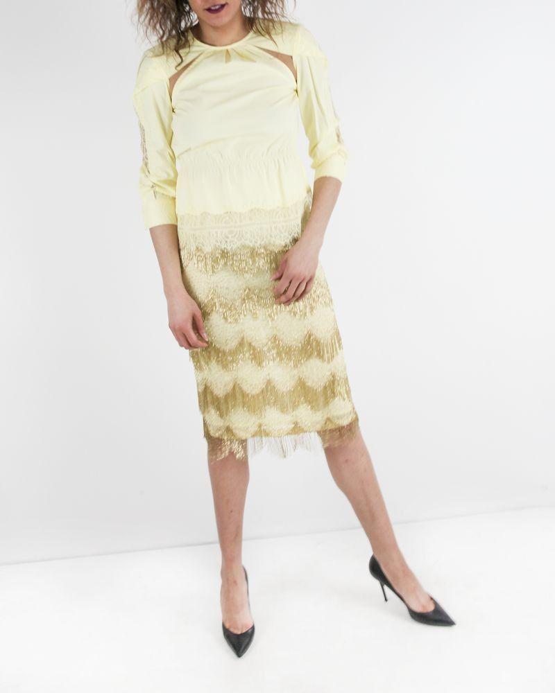 Jupe en mousseline jaune à franges perlées Elisabetta Franchi
