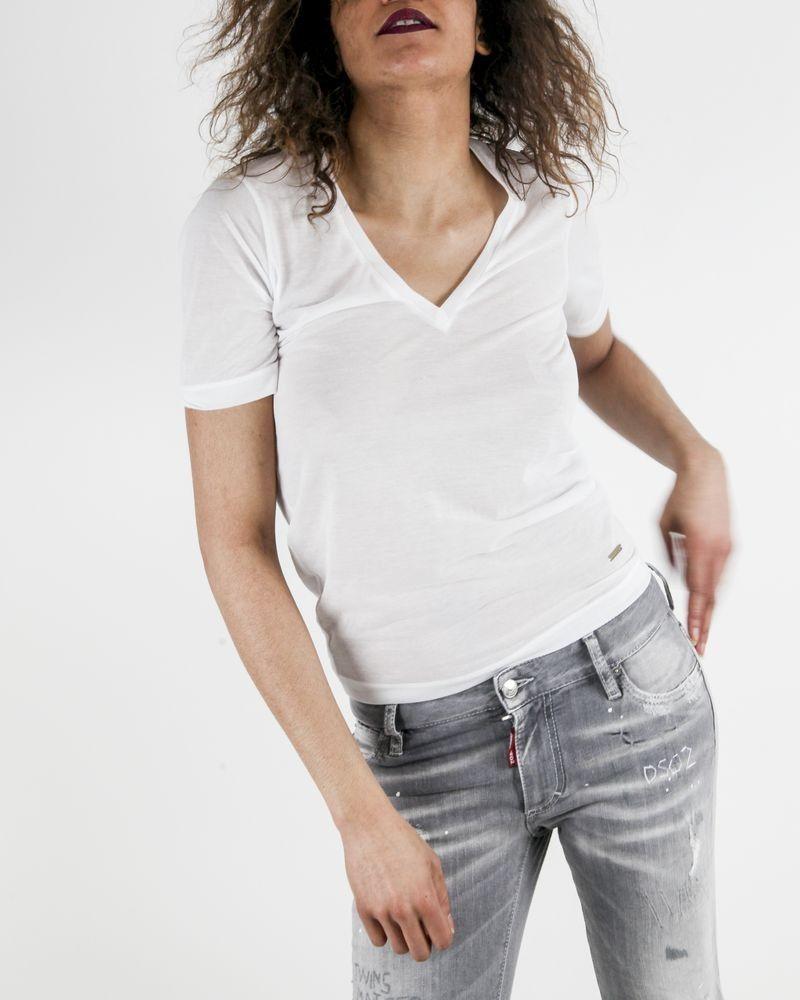 T-Shirt blanc à col V ajouré Dsquared