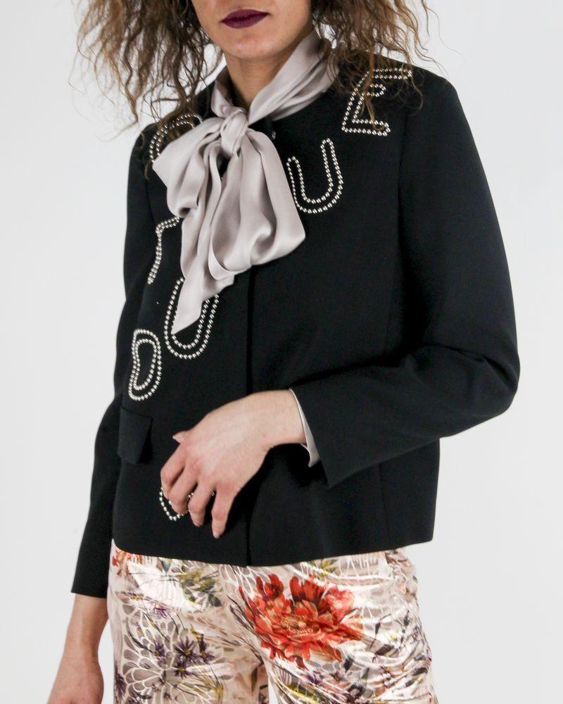 Veste en crêpe noir à broderies cloutées « Boutique » Moschino