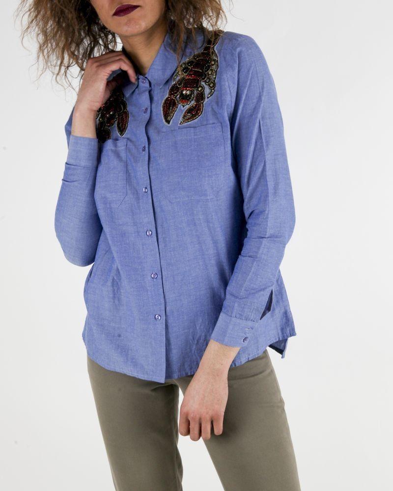 Chemise en coton bleu à broderies « scorpion» SVNTY