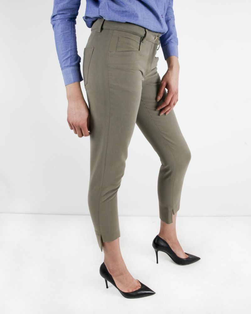 Pantalon en laine côtelé beige à ourlet asymétrique L'Edition