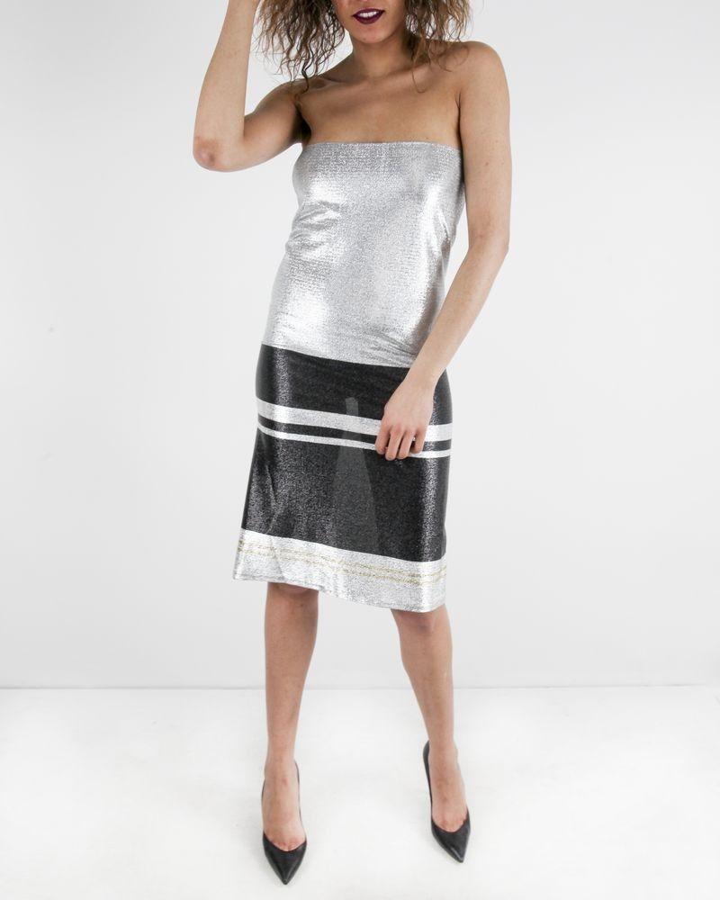 Robe bustier en lurex argent L'Edition