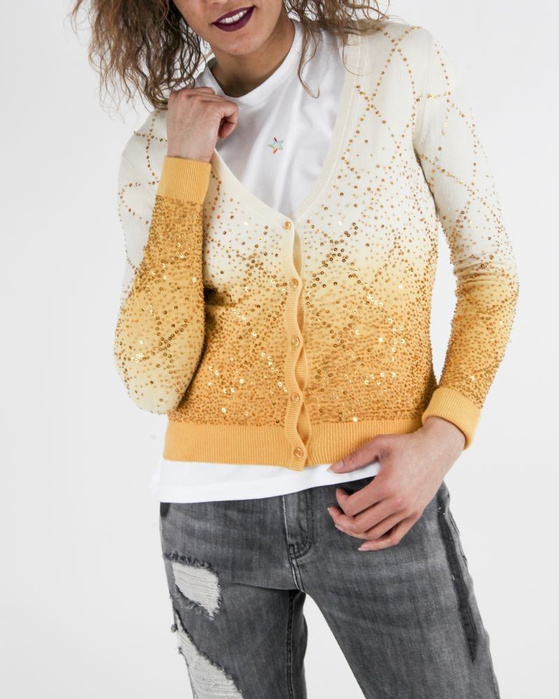 Gilet en cachemire beige et jaune à sequins Elisabetta Franchi