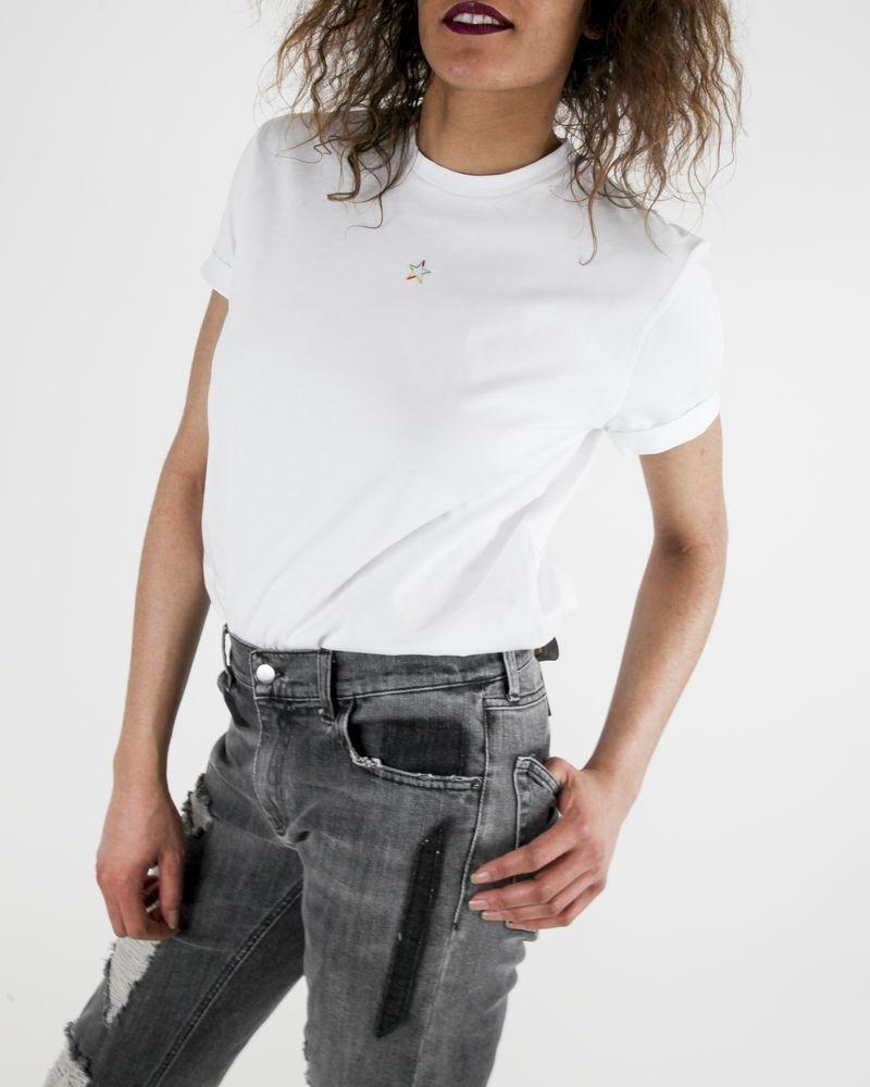 T-Shirt blanc à étoile arc-en-ciel Stella McCartney