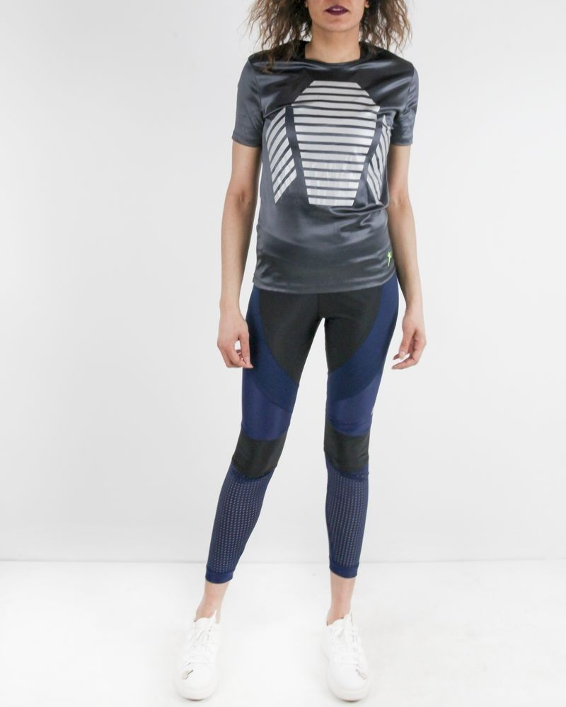 T-shirt technique en élasthanne gris Mugler