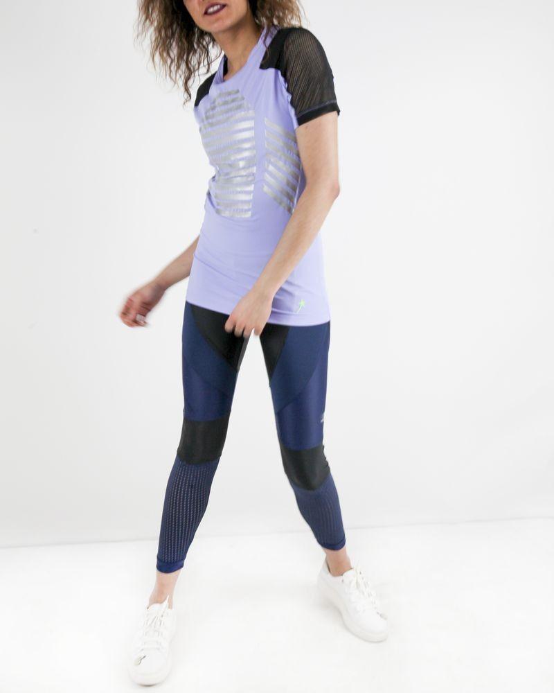 T-shirt technique en élasthanne violet Mugler