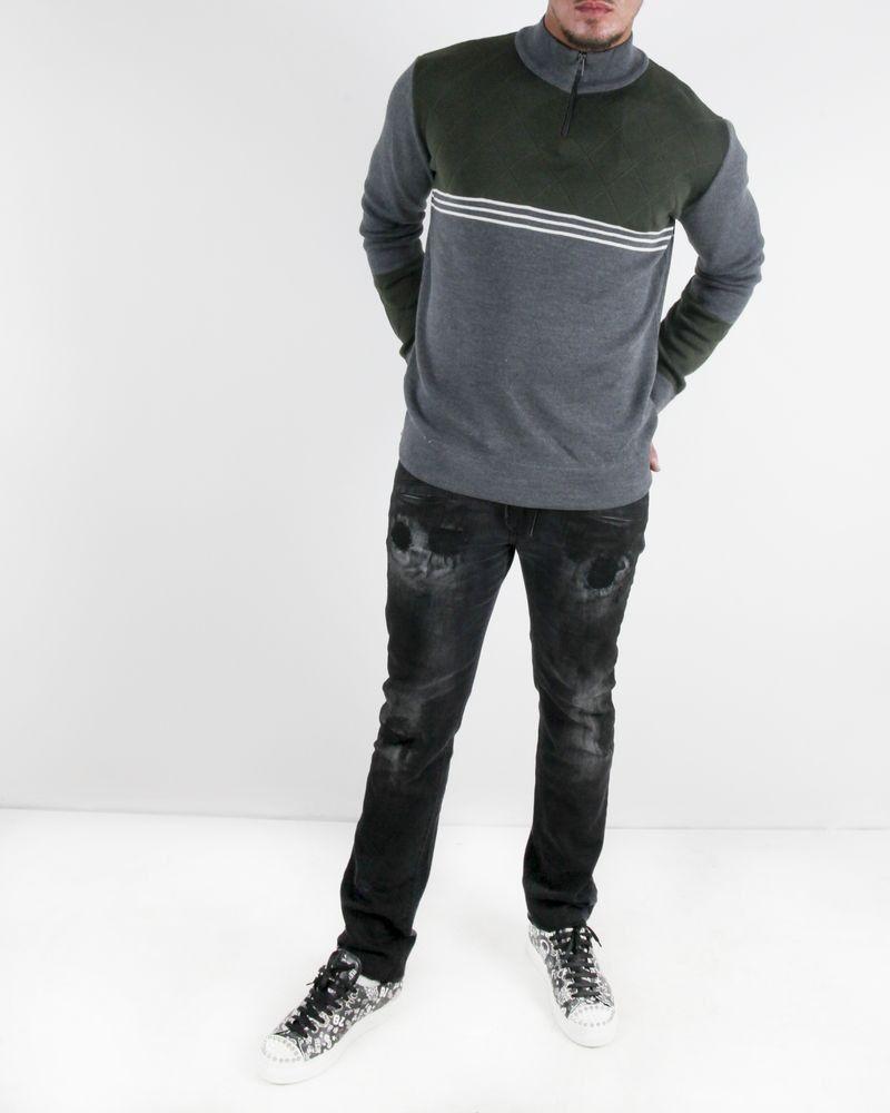 Pull en laine gris à col zippé Obvious