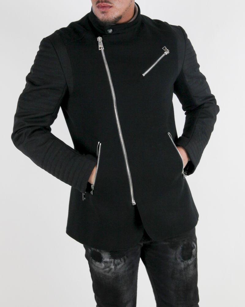 Veste style perfecto bi-matière noir Ambitus