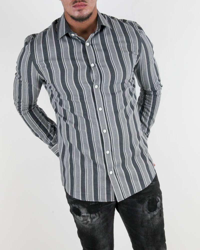 Chemise slim gris à rayures Les Hommes