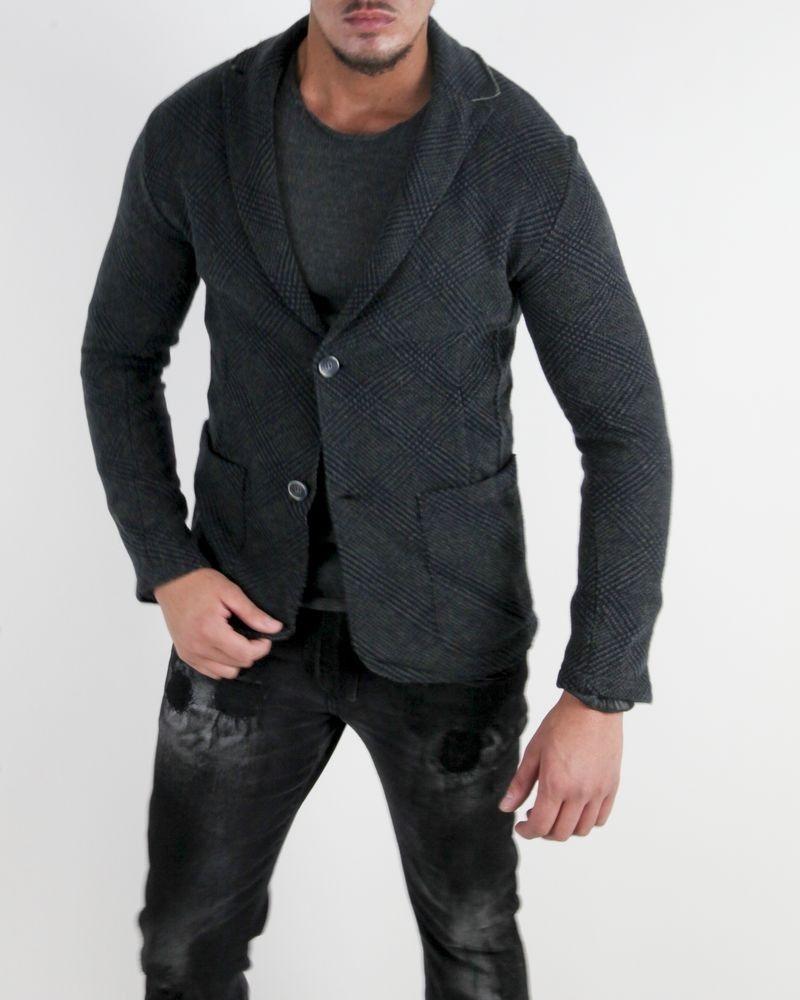 Veste en laine grise à motif Woolgroup