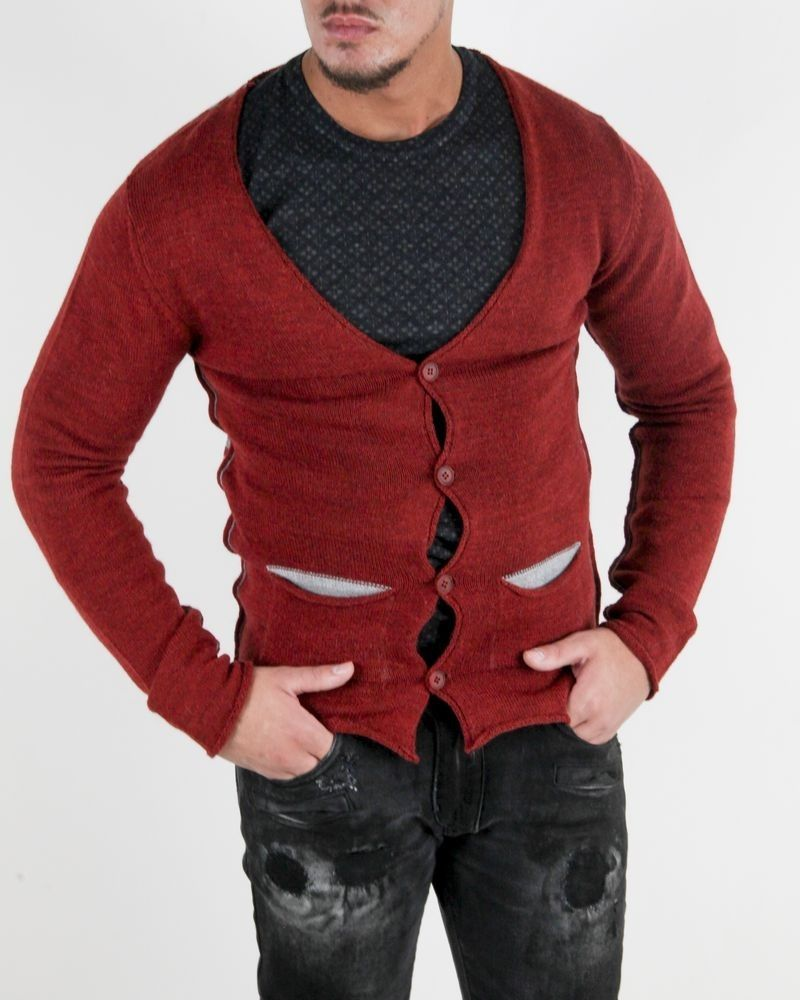 Gilet rouille à rayures Woolgroup