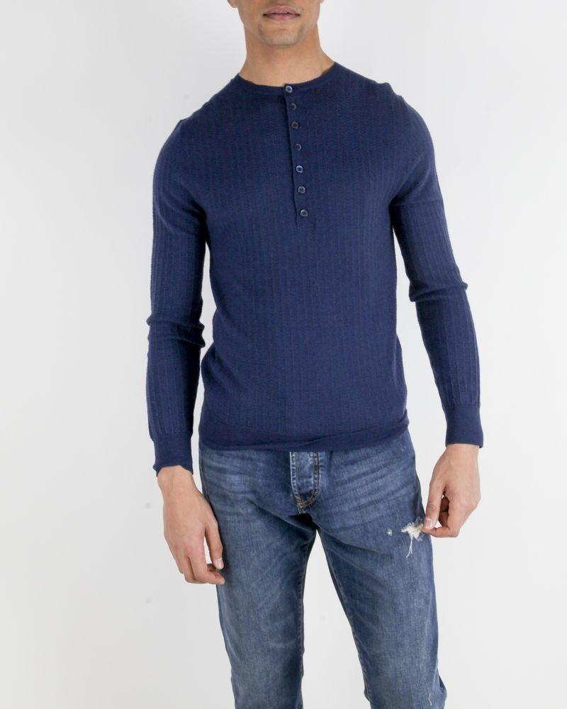 Pull en laine bleu à col tunisien Hosio