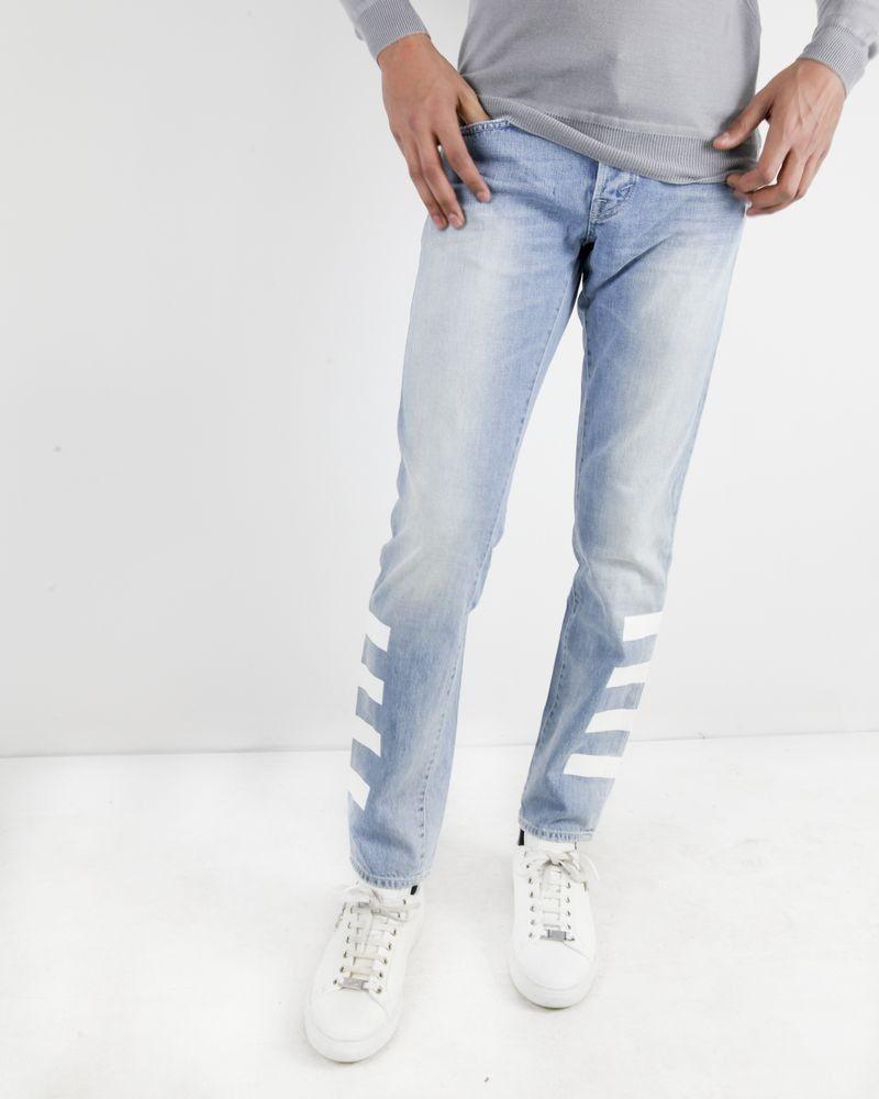 Jean slim en coton bleu à bandes blanches Department 5 Homme