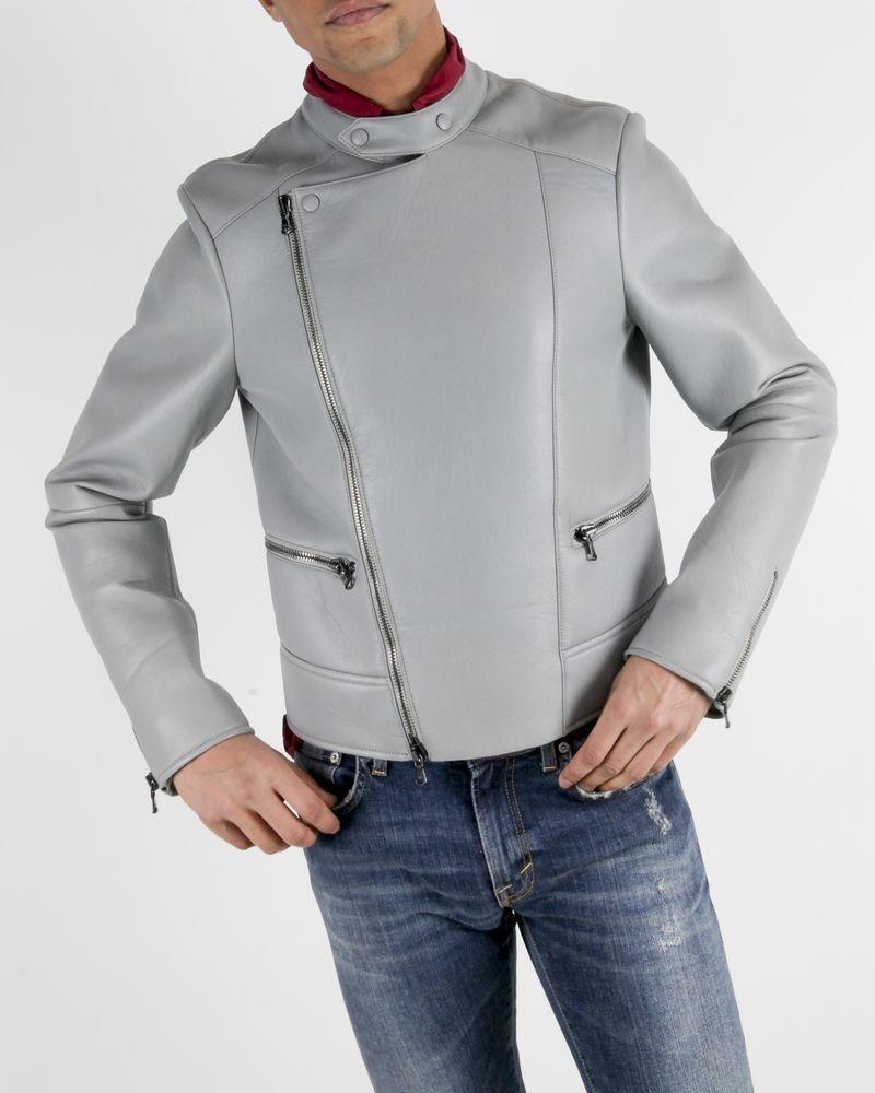 Perfecto en cuir mat gris John Galliano