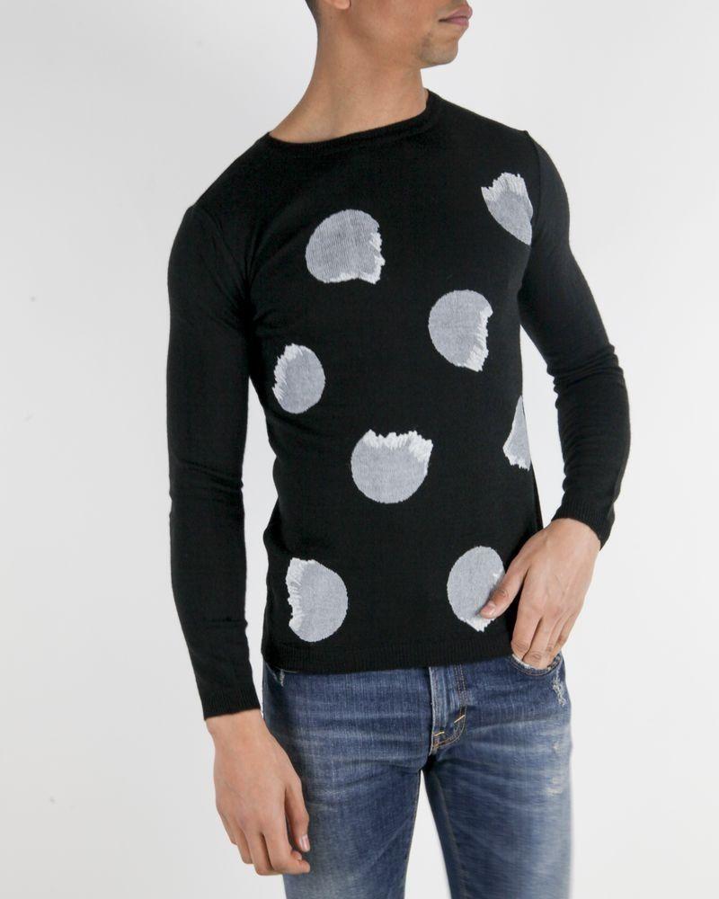 Pull en laine noir à motifs gris Obvious