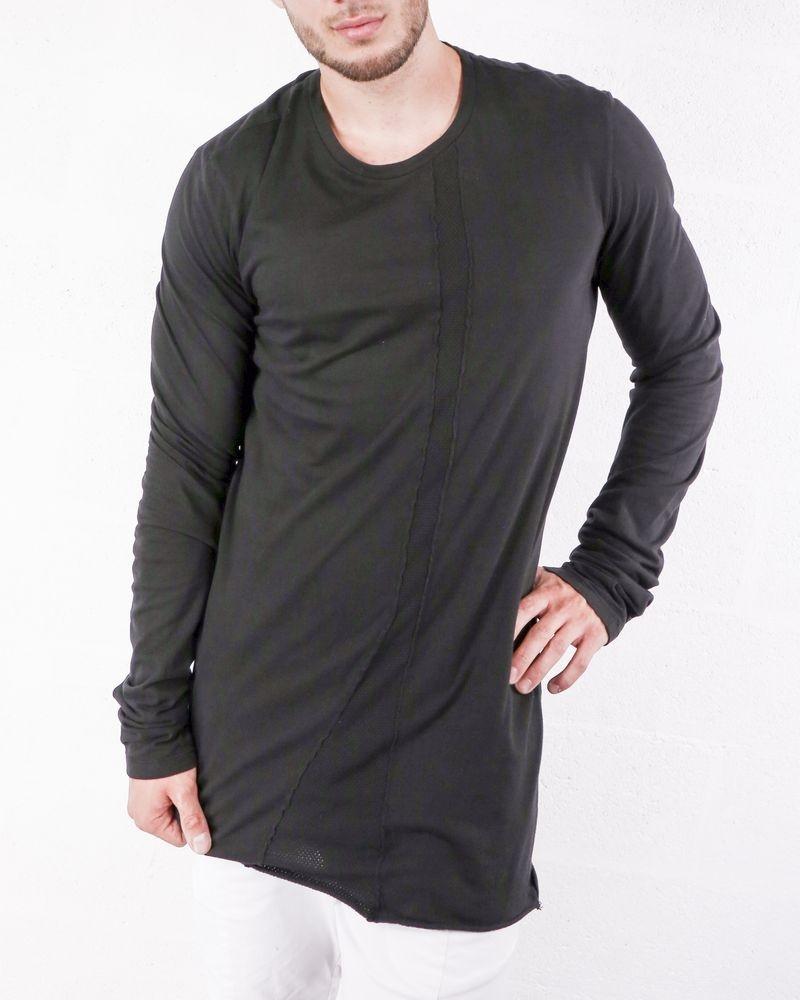 T-shirt long noir à galon piqué Lost & Found