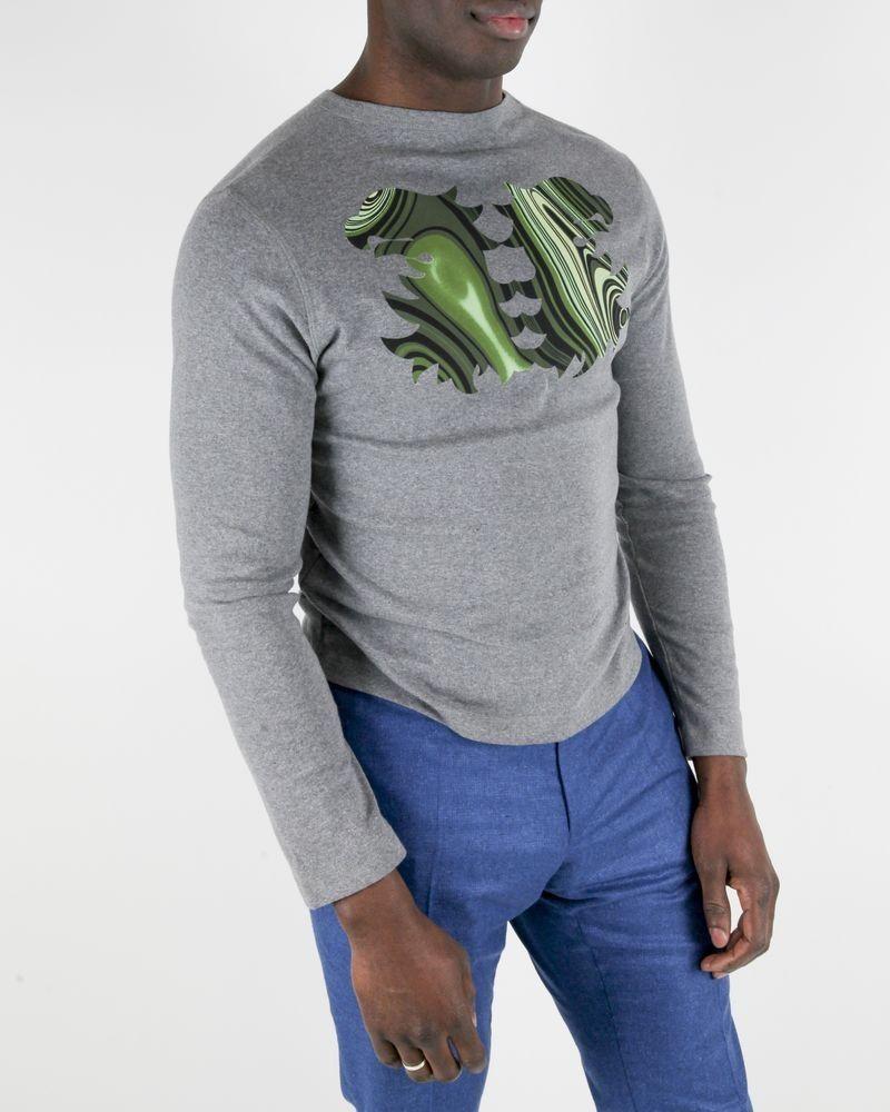 Sweat en coton gris à motifs fantaisies vert Valentino