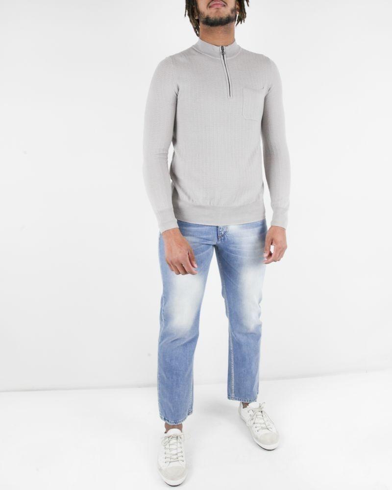 Pull en laine gris motif chevron à col zippé Hosio