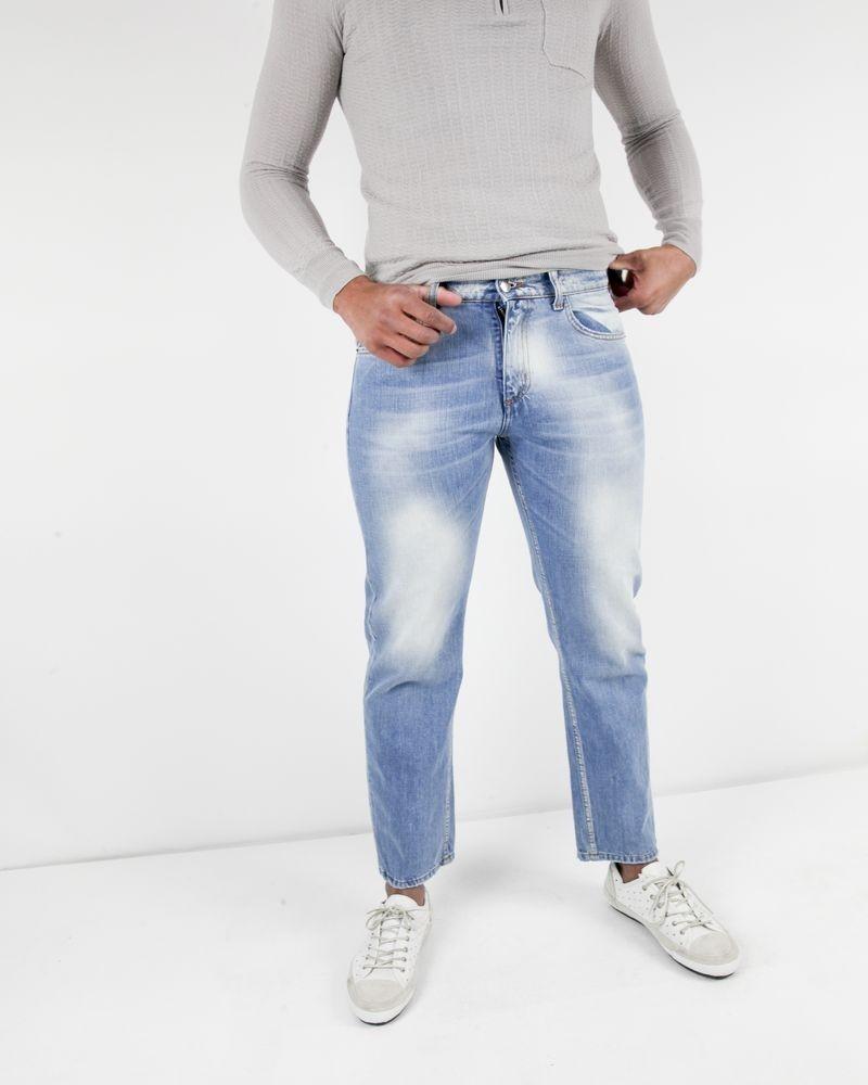 Jean droit bleu délavé John Galliano