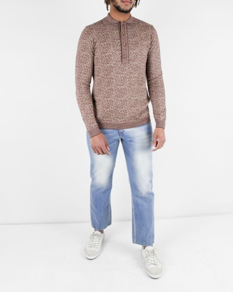 Pull polo en laine bordeaux et beige Obvious